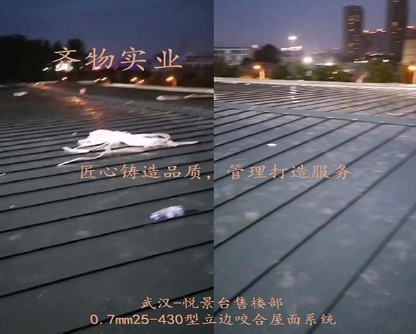 武汉悦璟台售楼部0.7mm/25-430立边咬合屋面